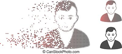Dispersed Pixel Halftone Man Icon
