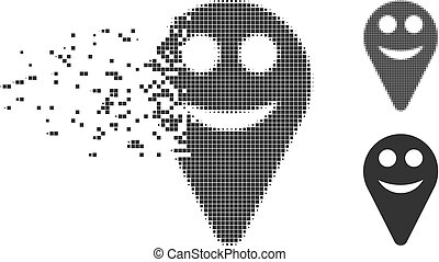 Dispersed Pixel Halftone Map Marker Smile Smiley Icon