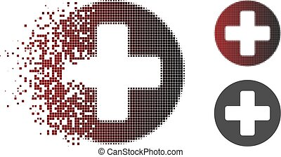 Dispersed Pixel Halftone Medical Rounded Cross Icon
