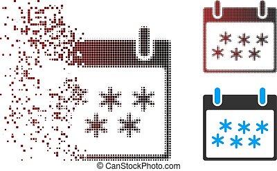 Dispersed Pixel Halftone Snow Calendar Day Icon - Vector...