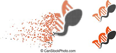 Dispersed Pixel Halftone Sperm Replication Icon - Sperm...