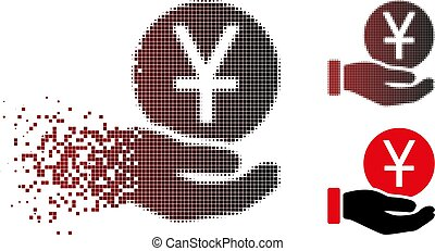 Dispersed Pixel Halftone Yuan Coin Payment Icon