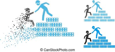 Dispersed Pixelated Halftone Builder Stairs Help Icon