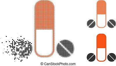 Dispersed Pixelated Halftone Male Medication Icon