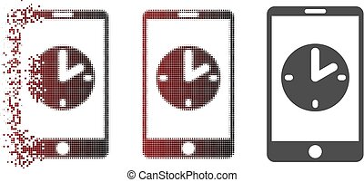 Dispersed Pixelated Halftone Mobile Time Icon
