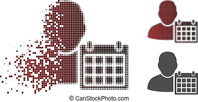 Dispersed Pixelated Halftone User Schedule Calendar Icon -...