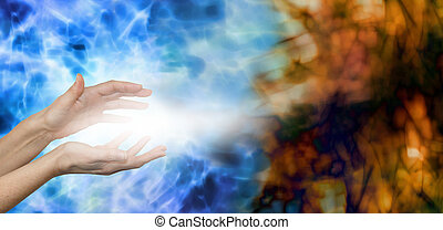 Female hands on water blue background with stream of white energy between hands appearing to disperse mucky brown energy field on right hand side