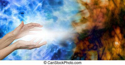 Dispersing Negative Energies - Female hands on water blue...