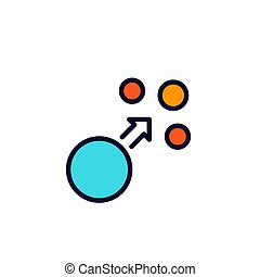 dispersion, vector icon with outline, eps 10 file, easy to ...