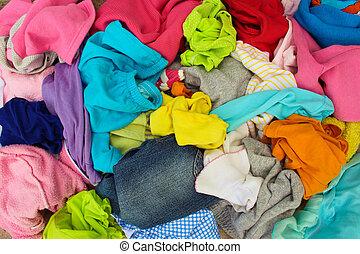 disperso, carelessly, pilha, clothes.