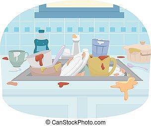 dispersore cucina, piatti sporchi