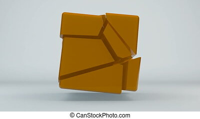 Displacement orange cube. Abstract seamless loop background....