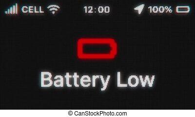 display., animation, téléphone, bas, texte, batterie, hud., icon., apparaître, pixeled, vieux, rouges