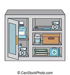 display case with dental hygiene products