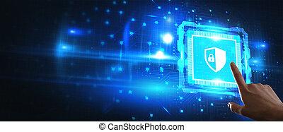 display., concept., gestion réseau, bureau, sélectionner, virtuel, business, internet, fonctionnement, icône, technologie, sécurité, homme affaires, jeune