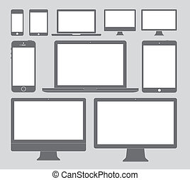 Display Devices Icons - Vector illustration of different...
