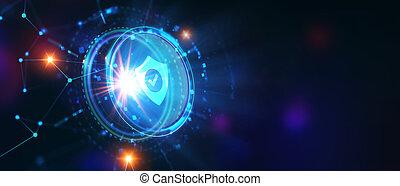 display., données, concept., business, protection, intimité, sélectionner, virtuel, cyber, icône, technologie, sécurité, homme affaires, jeune