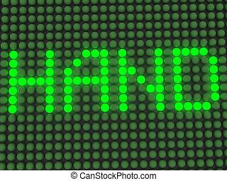 display., elektronowy, świecący, słowo