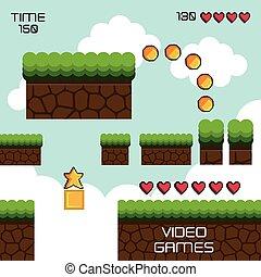 display game pixel interface vector illustration design