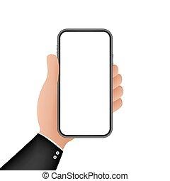 display., illustration., smartphone, vector, célula, touchscreen, icon., design., teléfono, teléfono, plano, mano., acción, gráfico