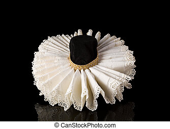 Display of an Elizabethan lace ruff collar