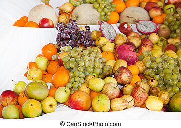 Display of assorted colourful ripe tropical fruit