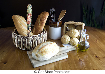 Display of bread on a table 2.