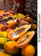 Display of fresh fruit on market stall in La Boqueria covered market. Barcelona. Catalonia. Spain Display of fresh fruit on market stall in La Boqueria covered market. Barcelona. Catalonia. Spain