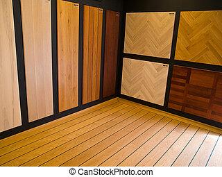 Display of hardwood parquet floors - Display of various...