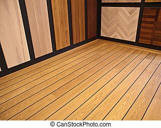 Display of hardwood parquet floors