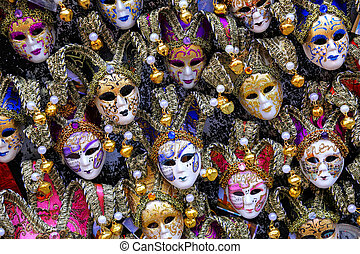 Display of masks at a souvenir shop in the street of Venice, Italy