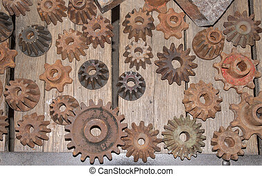 Display of old gears