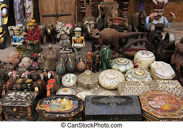 Display of souvenirs at a shop in Jaisalmer fort, India