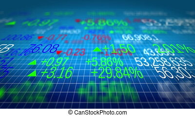 Display of Stock market quotes. Shallow depth of fields. Loop ready.