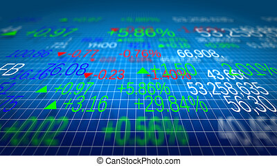 Display of Stock market quotes. Shallow depth of fields.