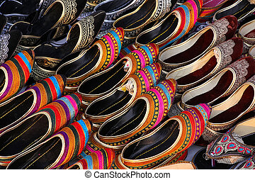 3cdaf8f841b3 Indian slippers. Stall of an indian leather slippers shop - jodhpur ...