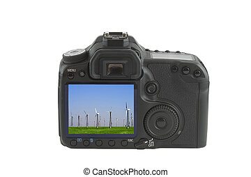 Display on camera isolated over white background