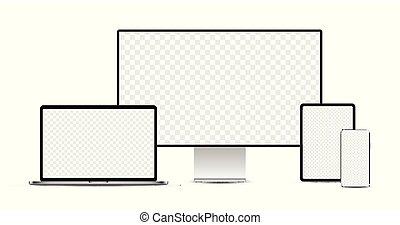 display., ordinateur portable, tablette, devices:, électronique, ensemble, réaliste, argent, smartphone