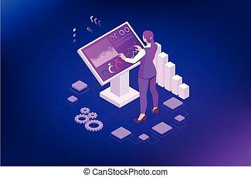 display., publicidad, empresa / negocio, terminal, quiosco, interactivo, grande, estante, información, assistance., posición, digital, infographics., hembra, exhibición, isométrico, concepto, monitor