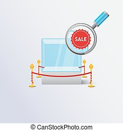 Display sale case. Vector illustration.