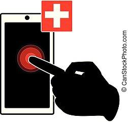 display., smartphone, señalar, mano