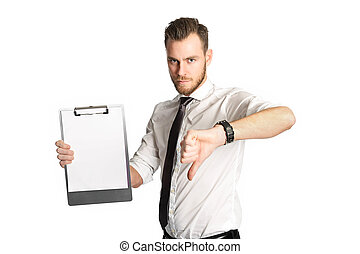 Displeased businessman with clipboard