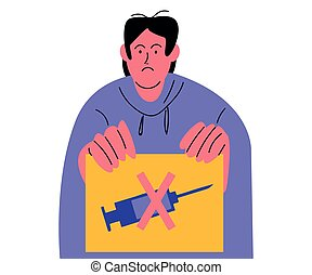 Hand drawn young displeased man sitting and protesting agaist vaccination from coronavirus or any disease with placard with syringe over white background vector illustration. Stop vaccination concept