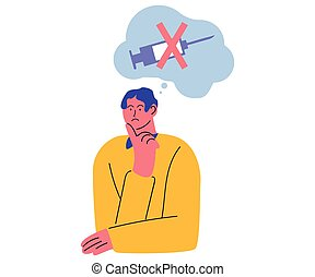 Hand drawn young displeased man sitting and thinking about refusing to get vaccination from coronavirus or other disease over white background vector illustration. Stop vaccination concept