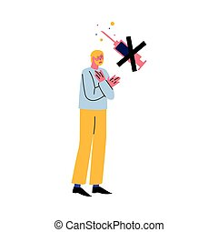 Hand drawn young displeased man standing and refusing to get vaccination from coronavirus or other disease over white background vector illustration. Stop vaccination concept