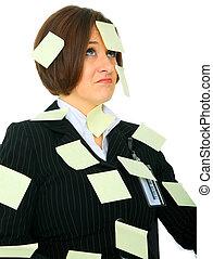 Displeased Woman Full Of Blank Post It