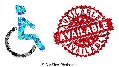 disponibile, donna disabile, mosaico, sigillo, textured