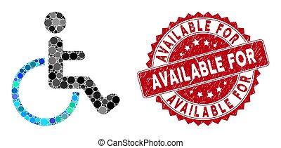 disponibile, persona, invalido, grunge, francobollo, mosaico