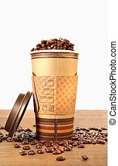disponibile, tazza caffè, con, fagioli