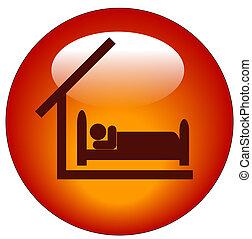 disponible, concept, motel, hôtel, -, ou, chambre à coucher, bouton, rouges, icône